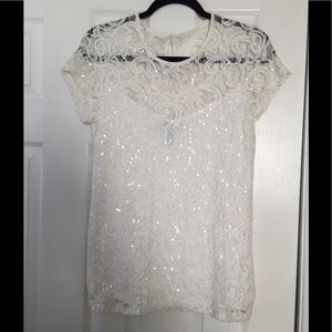 NWOT Macy's White Lace sequin tip